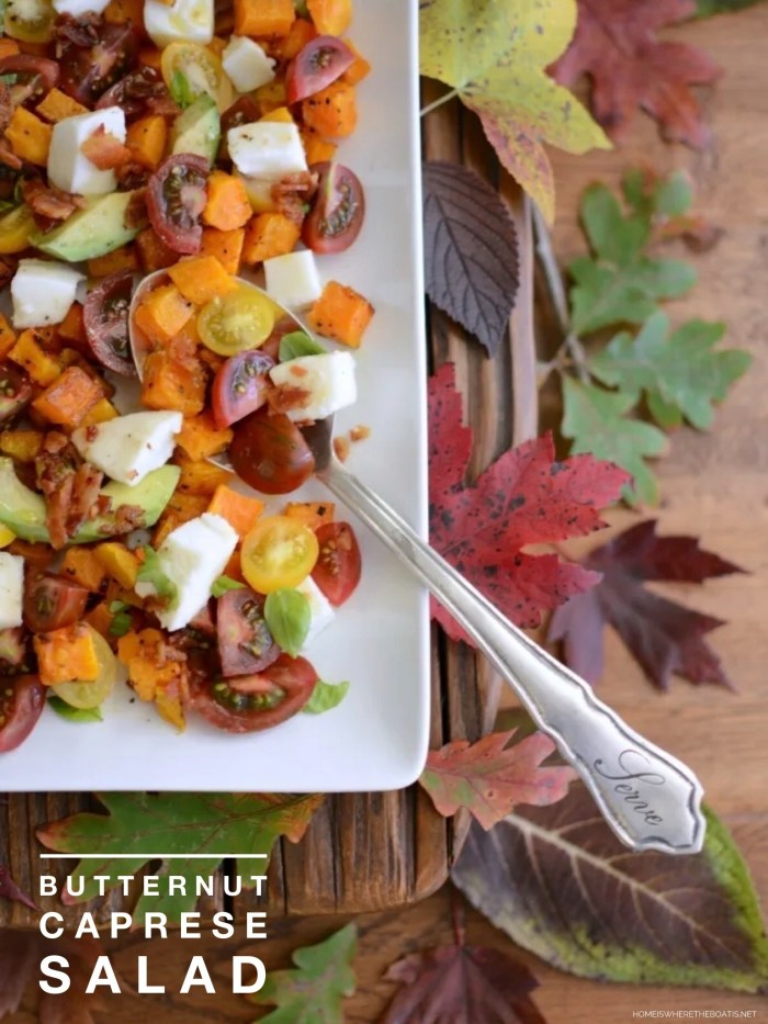 Butternut Caprese Salad A fall twist on the classic Italian caprese salad with some Southern flavor~ Hot Bacon Dressing! ©homeiswheretheboatis.net #fall #salad #butternutsquash #bacon #caprese