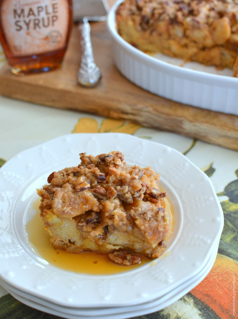 Overnight Pumpkin French Toast with Streusel Topping   ©homeiswheretheboatis.net #makeahead #frenchtoast #pumpkin #casserole #recipe #fall #brunch #Thanksgiving
