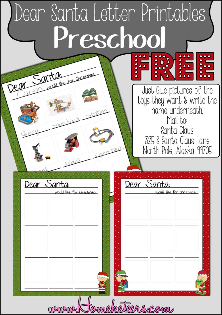letters to santa templates for kindergarten dear santa preschool printables free 25042