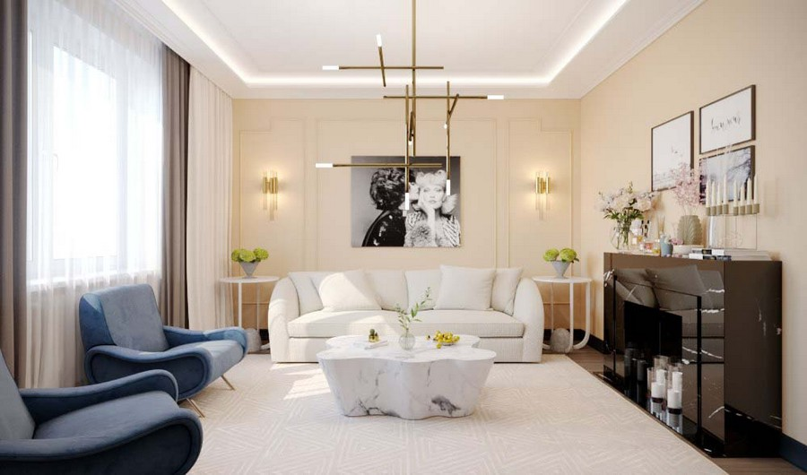 Stylish Image Maker s Apartment Furnished with Eichholtz Pieces     3 1 contemporary style living room interior design