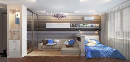 Комната 17 кв. м спальня-гостиная фото: дизайн и ...