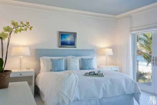 Coastal Bedroom white and Blue Contemporary Home Life & Design Vero Beach
