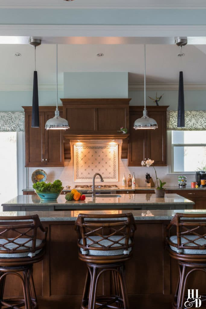 Mahogany Kitchen Design, Wood Mode Cabinets, Stones of Italy Vero Beach