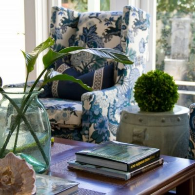 West Indies Windsor Style - Blue Living Room Decor