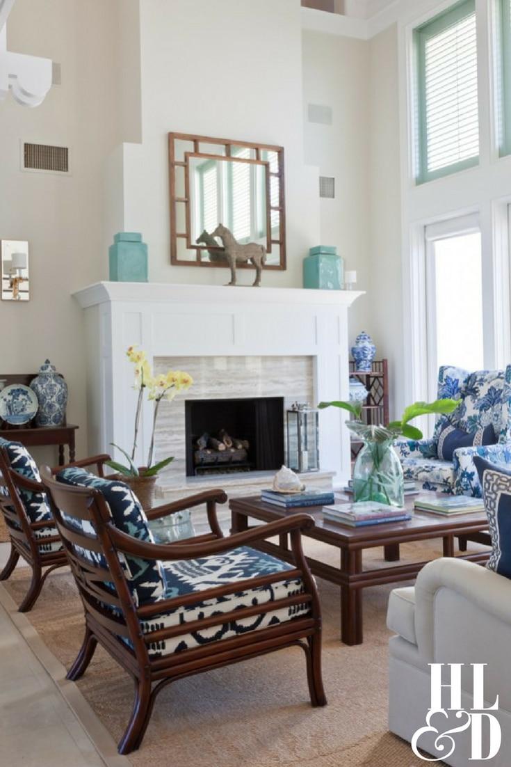 West Indies Windsor Style - Bold Blue Living Room
