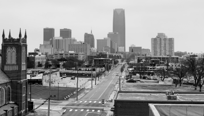 A view of Oklahoma city, where you can buy a house.