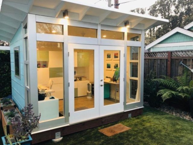 A backyard office with electricity.