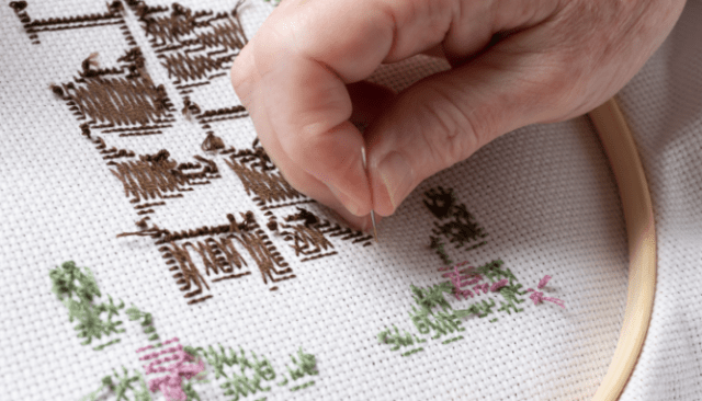 Needlepoint that fits the grandmillennial style.