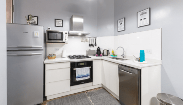 An image of a grey kitchenette.