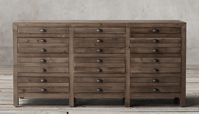 An image of a wooden dresser to demonstrate how to get Restoration Hardware style on a budget.