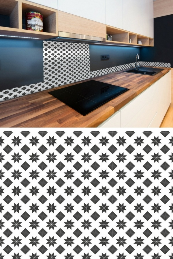 credence adhesive cuisine carreaux de ciment. Black Bedroom Furniture Sets. Home Design Ideas
