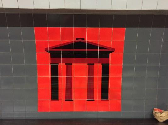 Euston Victoria tiles designed by Tom Eckersley 1968