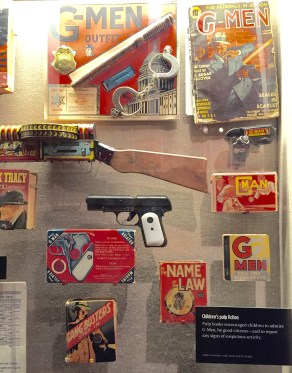 Crime fighting Toys & books at the mob museum, G-Men, Gang Busters Pulp Fiction
