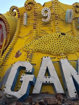 Golden Nugget sign the Neon Boneyard Neon Museum Las Vegas, Yellow, G A M