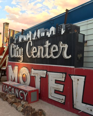 City Centre Motel sign at the Neon Bone Yard, Neon Museum, Las Vegas