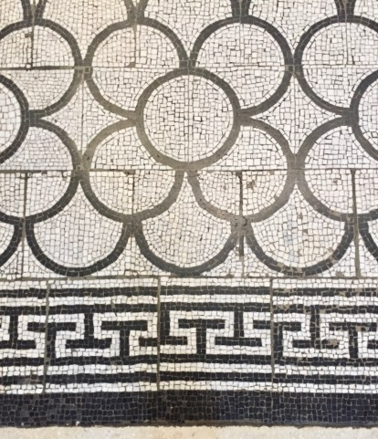Mosaic floor made by female prisoners from Woking Gaol. At the Museum of Childhood, Bethnal Green