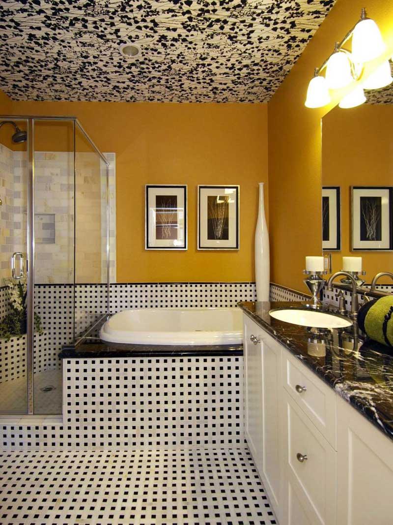 Art Deco Bathroom With Unique Ceiling