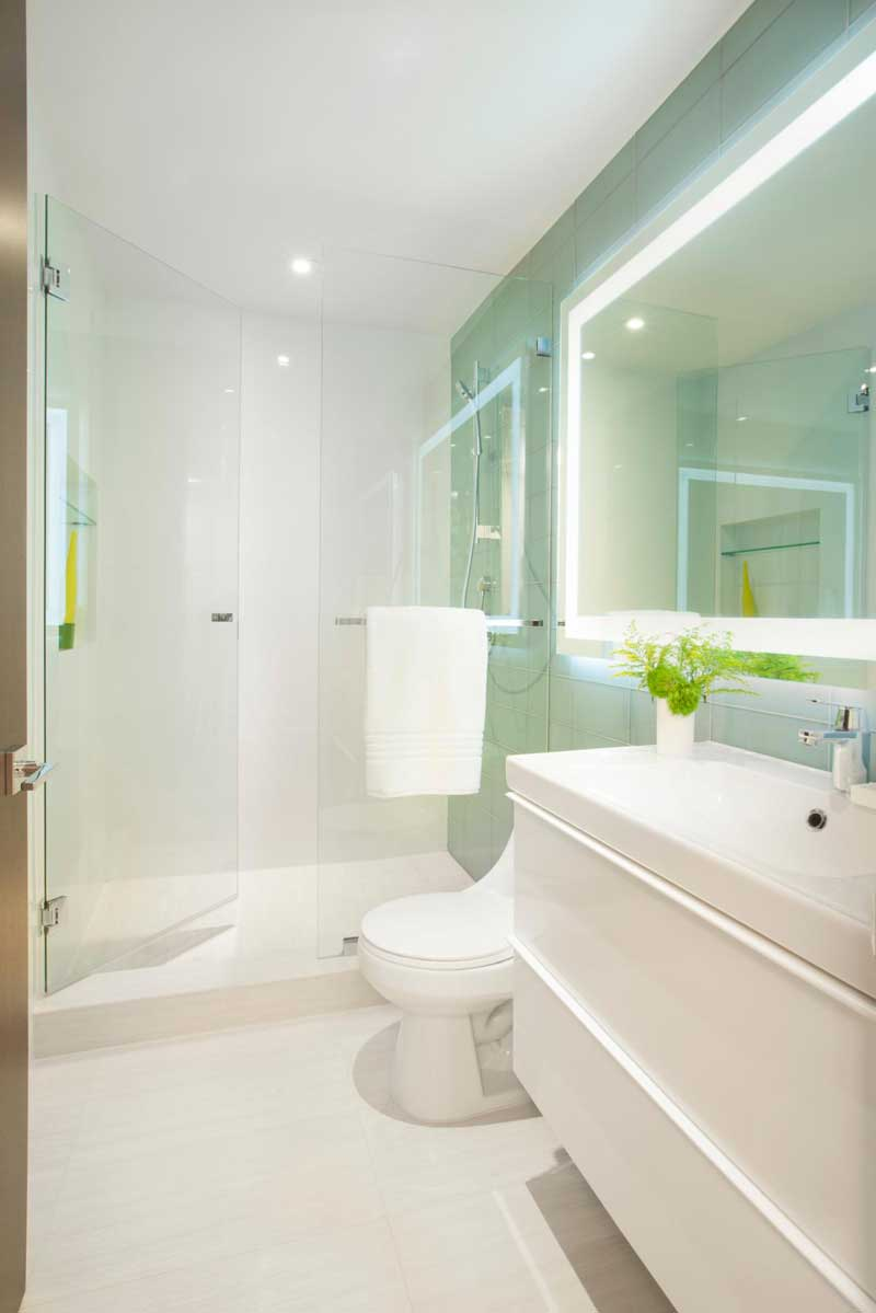 Bathroom with Glass Walk In Shower