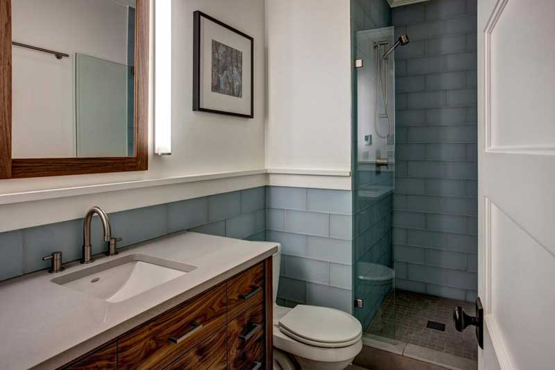 Bathroom with Light Blue Tile
