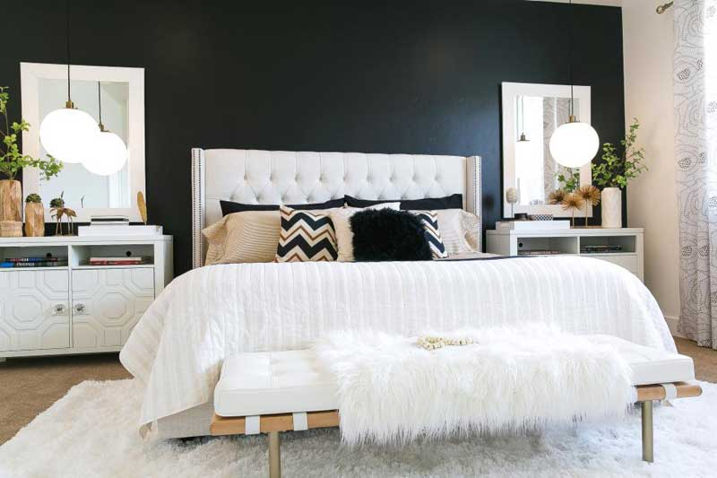 Black and White Bedroom with Lush Furnishings