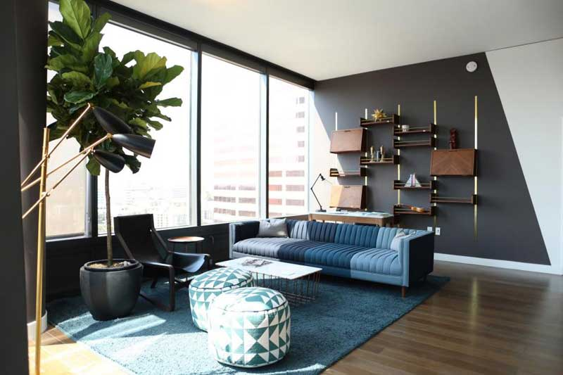 Blue and Gray Midcentury Living Room