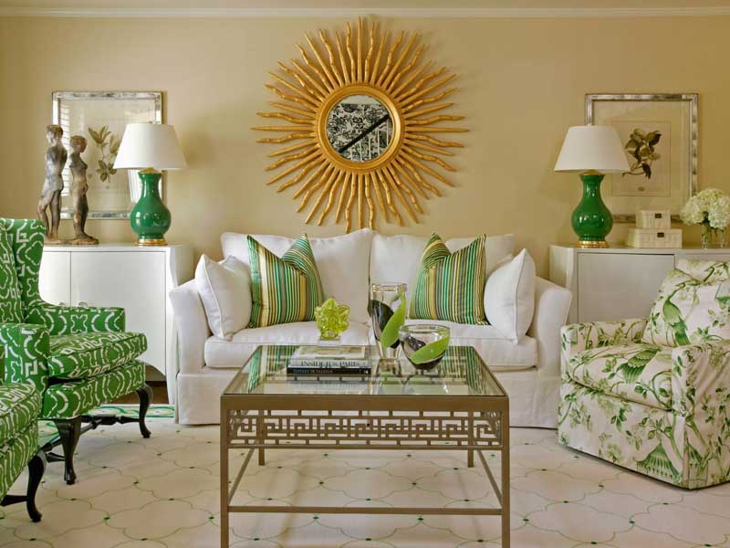 Living Room with Green Accents