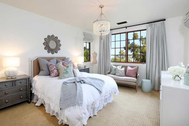 Mediterranean Bedroom with Ruffled Bedding