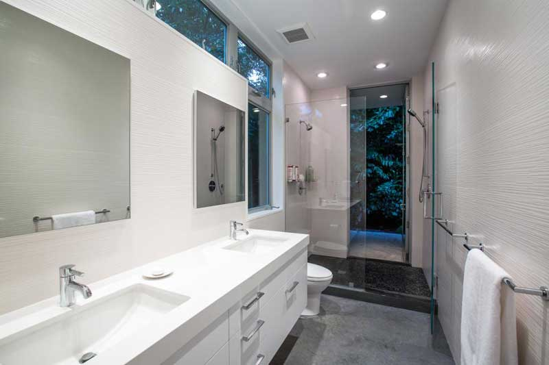Modern Bathroom with Textured Walls
