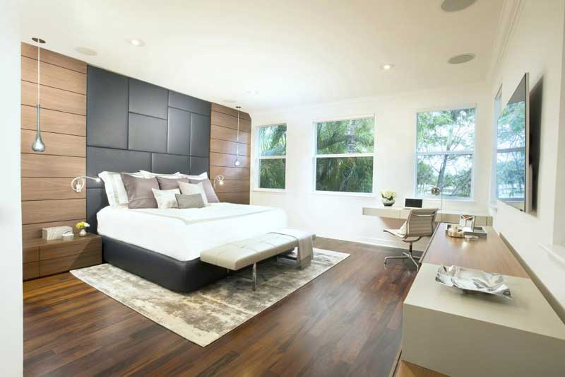 Modern Bedroom With Gray Headboard