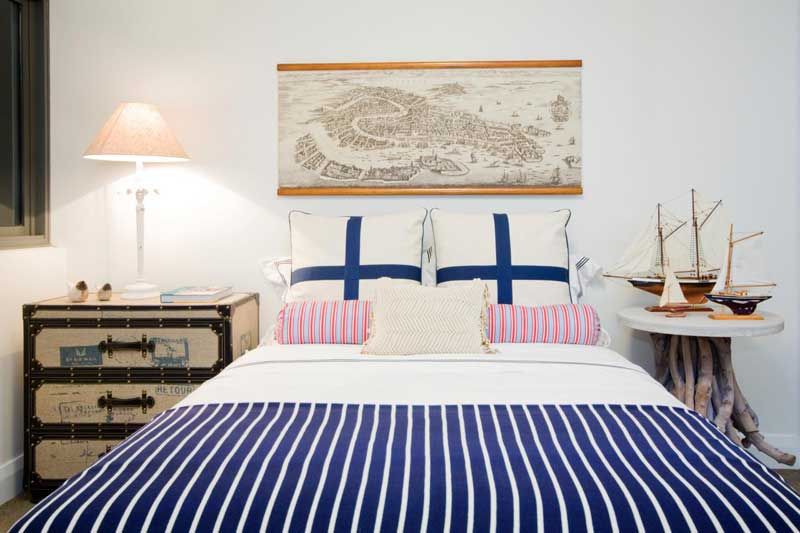 Nautical Bedroom with Striped Bedding