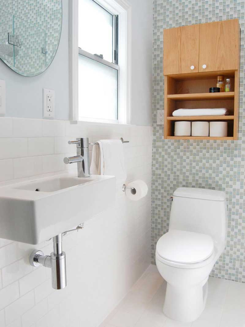 Small Bathroom with Subway and Mosaic Tile