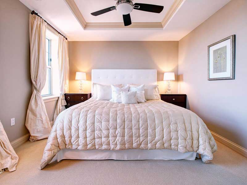Soft Neutral Bedroom with Tray Ceiling