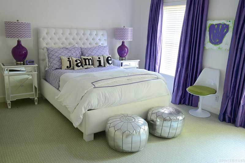 Teenage Girl Bedroom With Purple Patterns and Silver Accents