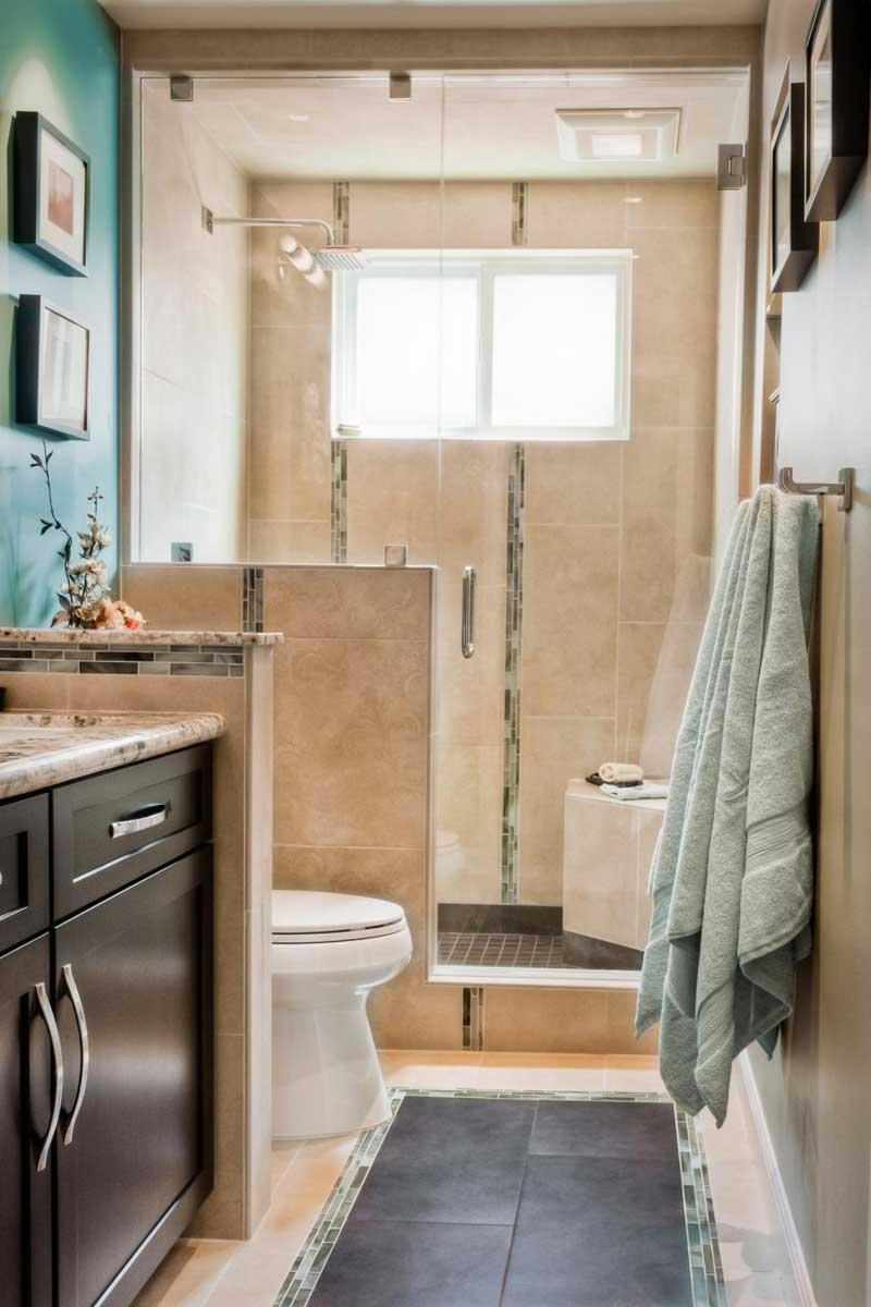Beige Tile Walk-In Shower