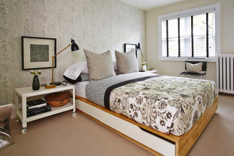Black and White Bedroom With Faux Bois Wallpaper