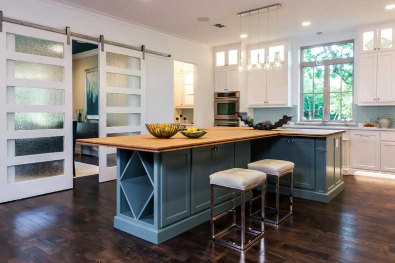 Blue Kitchen Island With Wood Countertop