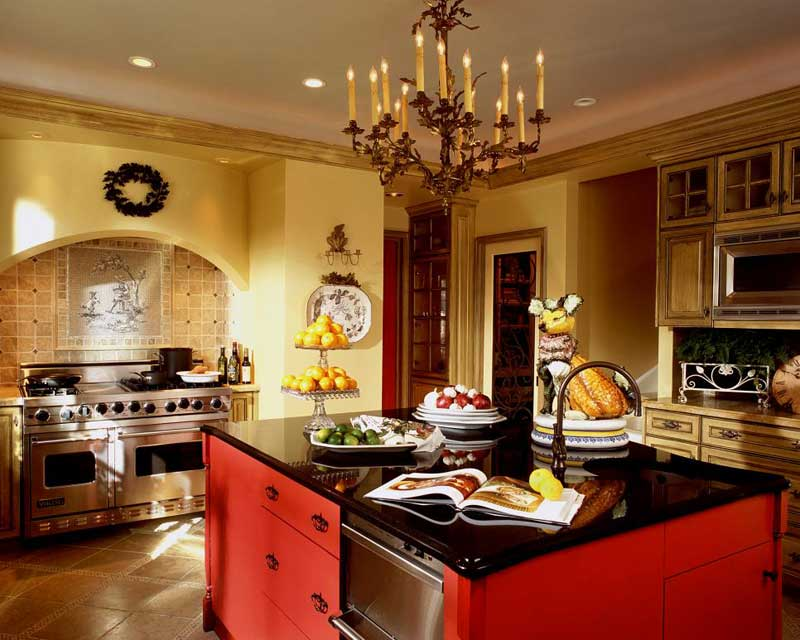 Bold Red Kitchen Island