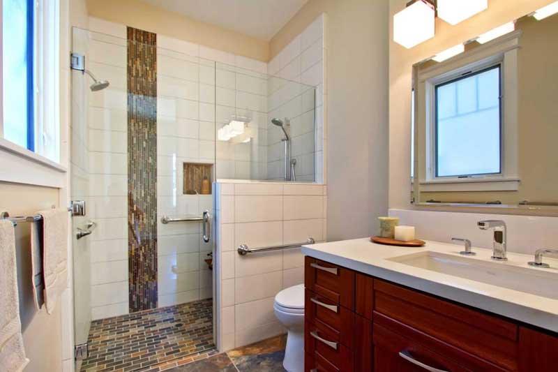 Bathroom with Brown Mosaic Tile