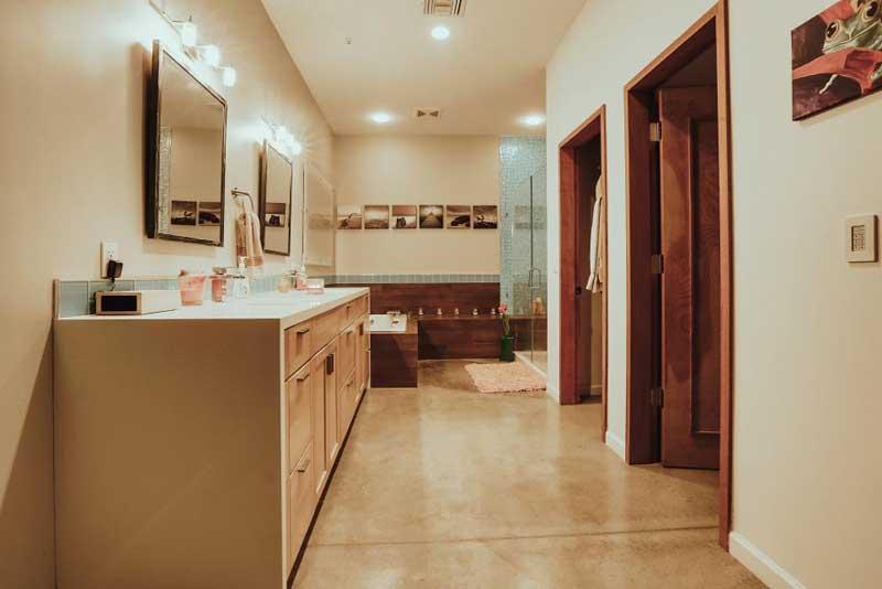 Bathroom with Concrete Tile Floor