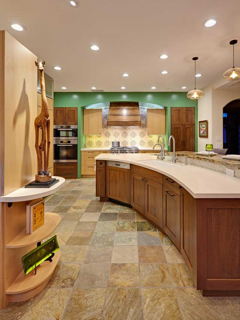 Curved Kitchen Island With Quartz Countertop