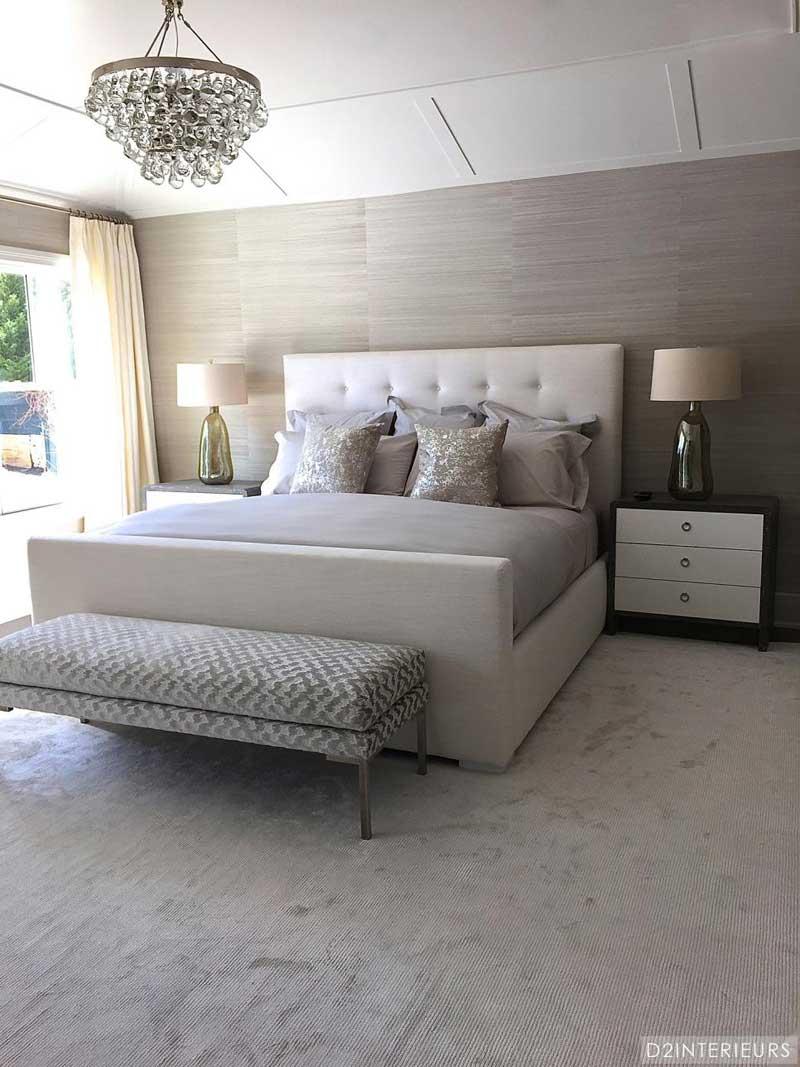 Gray Bedroom With Metallic Throw Pillows