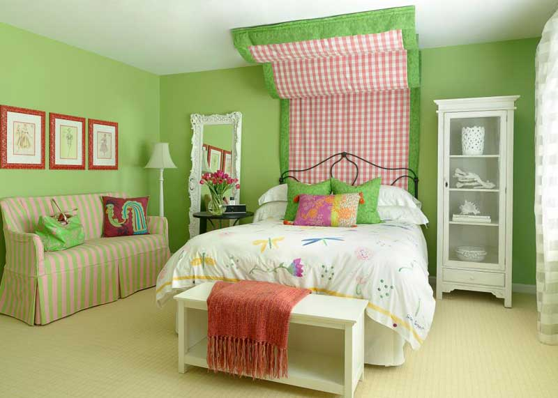 green bedroom for teenage girls. green teenage girl bedroom with fabric headboard for girls e