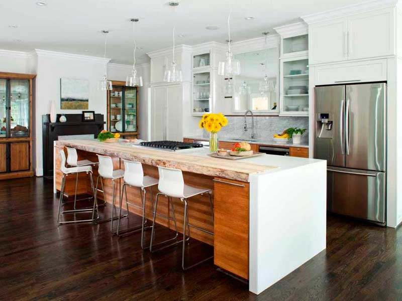 Kitchen Island With Wooden Accent