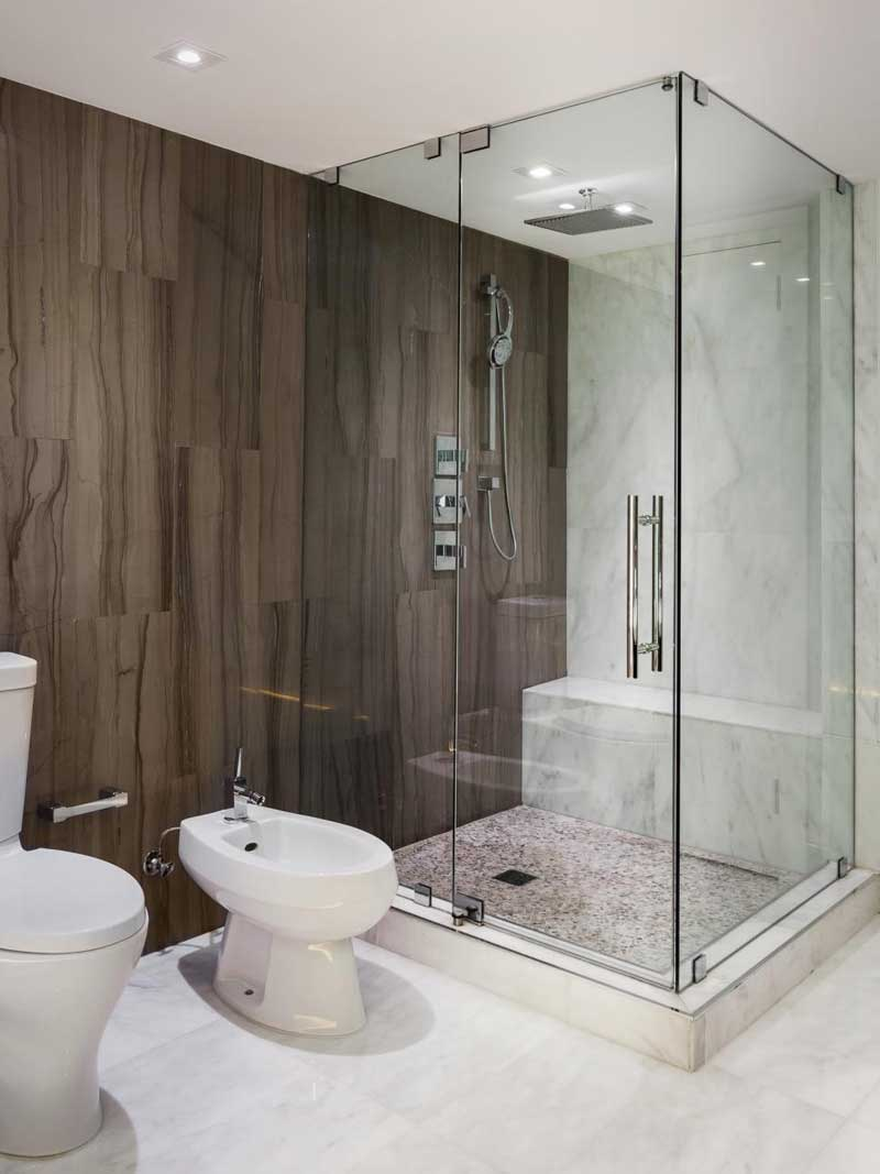 Bathroom with Large Brown Tile