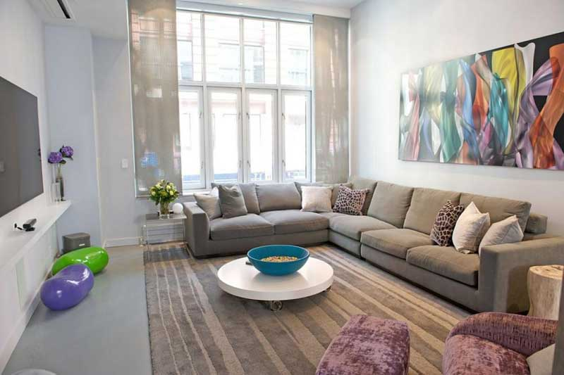 Modern Living Room With Multicolored Art