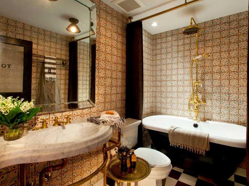 Bathroom with Moroccan Tile Wall
