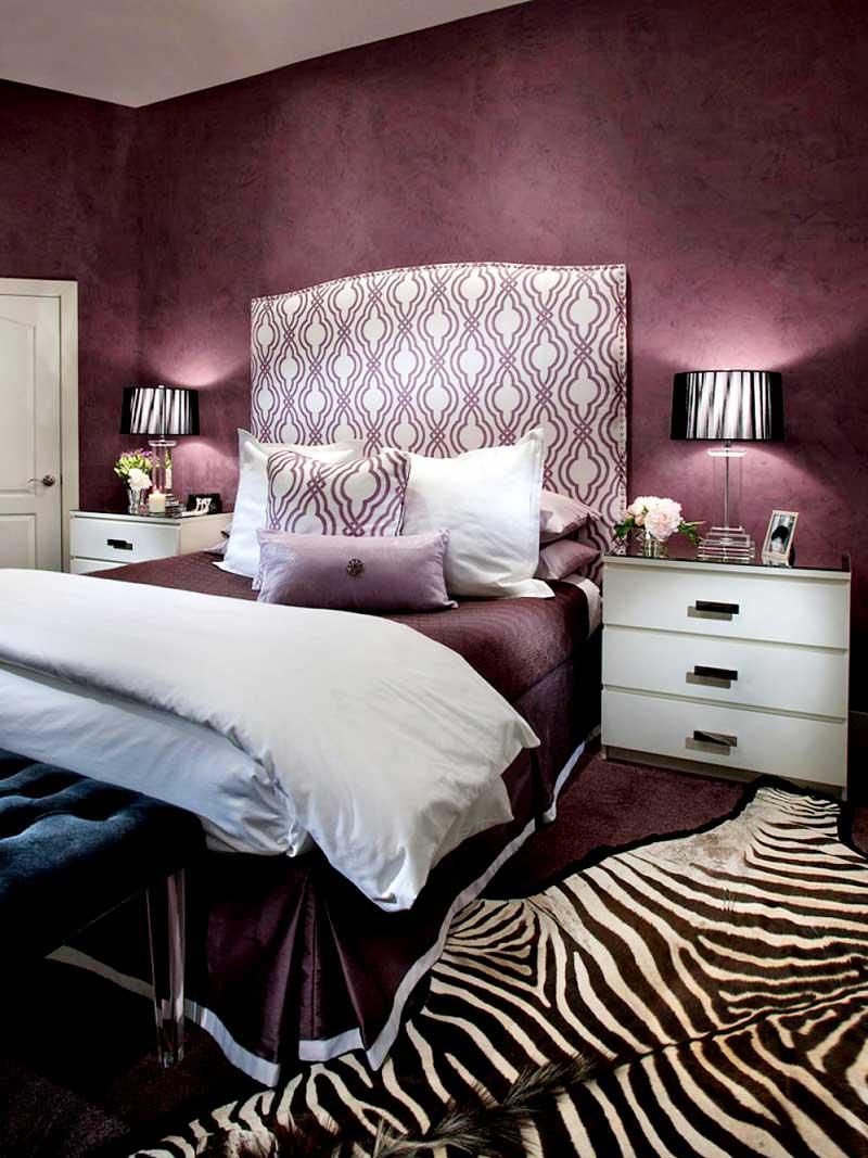 Purple Bedroom with Zebra Print Rug