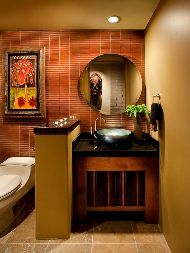Bathroom with Red Tile Wall