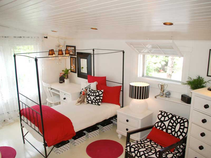 Red, White and Black Teenage Girl Bedroom