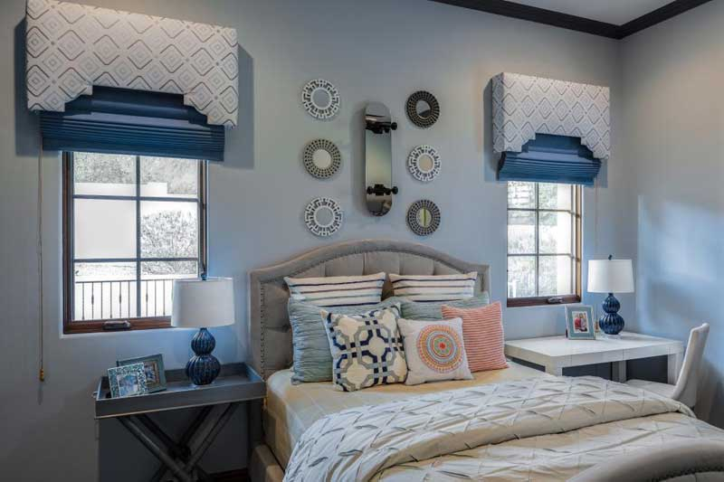 Teenage Girl Bedroom with Soft Gray Walls with Blue and Coral Accent